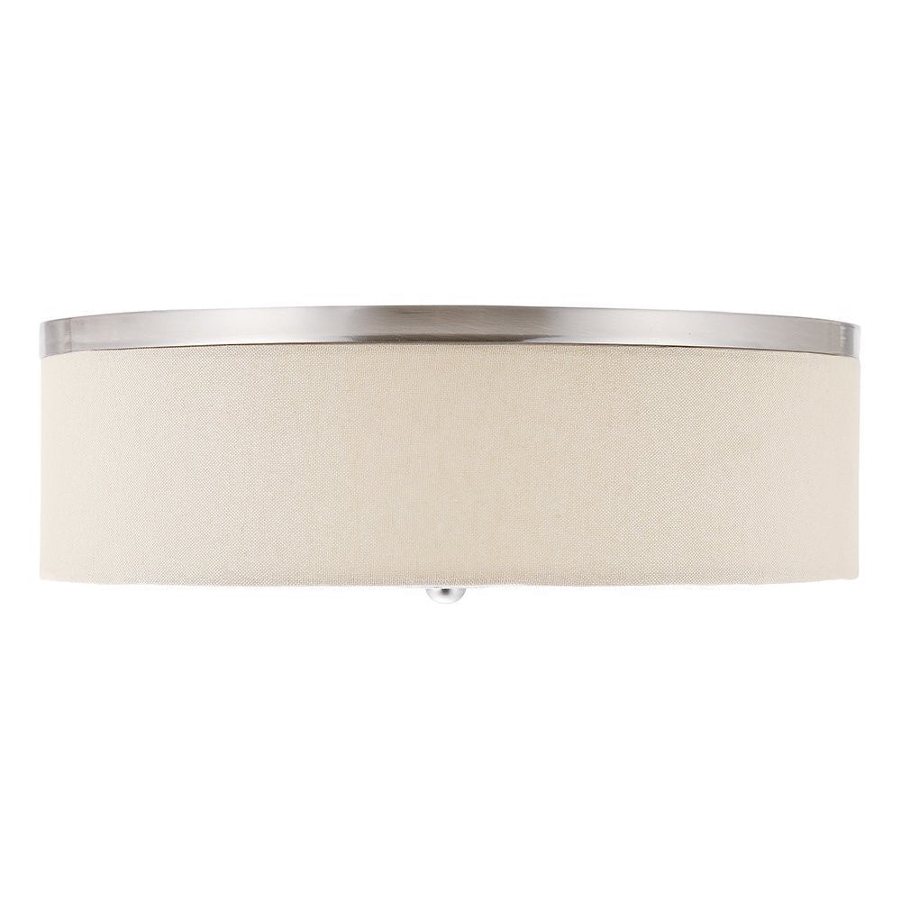"Fabric Shade Drum Flush Mount Ceiling Light, 15"" Dimmable 3000K, Natural Linen & BN, 23W/1400lm"