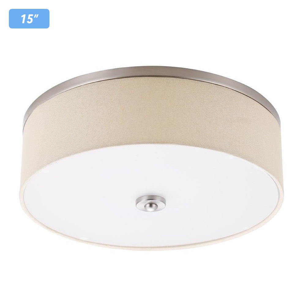 Cloudybay LED Flush Mount Ceiling Light 15-inch 23W Yellow Brushed Nickel__title