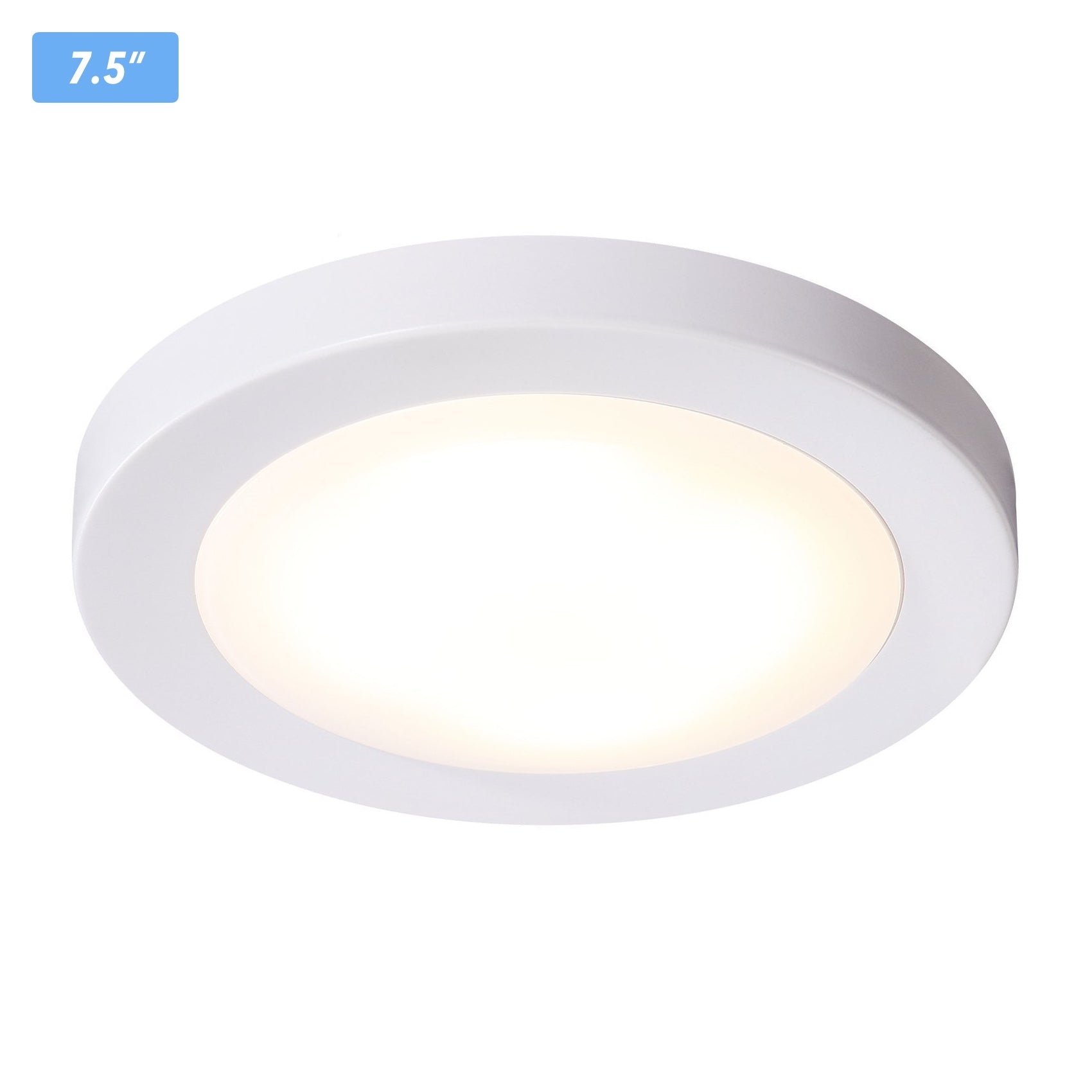 newest d040a 856ad Flush Mount Ceiling Light, 7.5-inch, Dimmable LED, White Finish, Wet  Location, 120V/12W/840lm