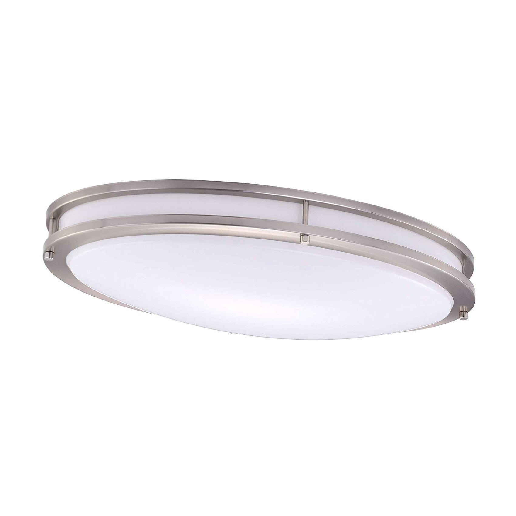 LED Flush Mount Oval Ceiling Light, Dimmable, 24-inch, 28W, 4000K Cool White, Brushed Nickel Finish