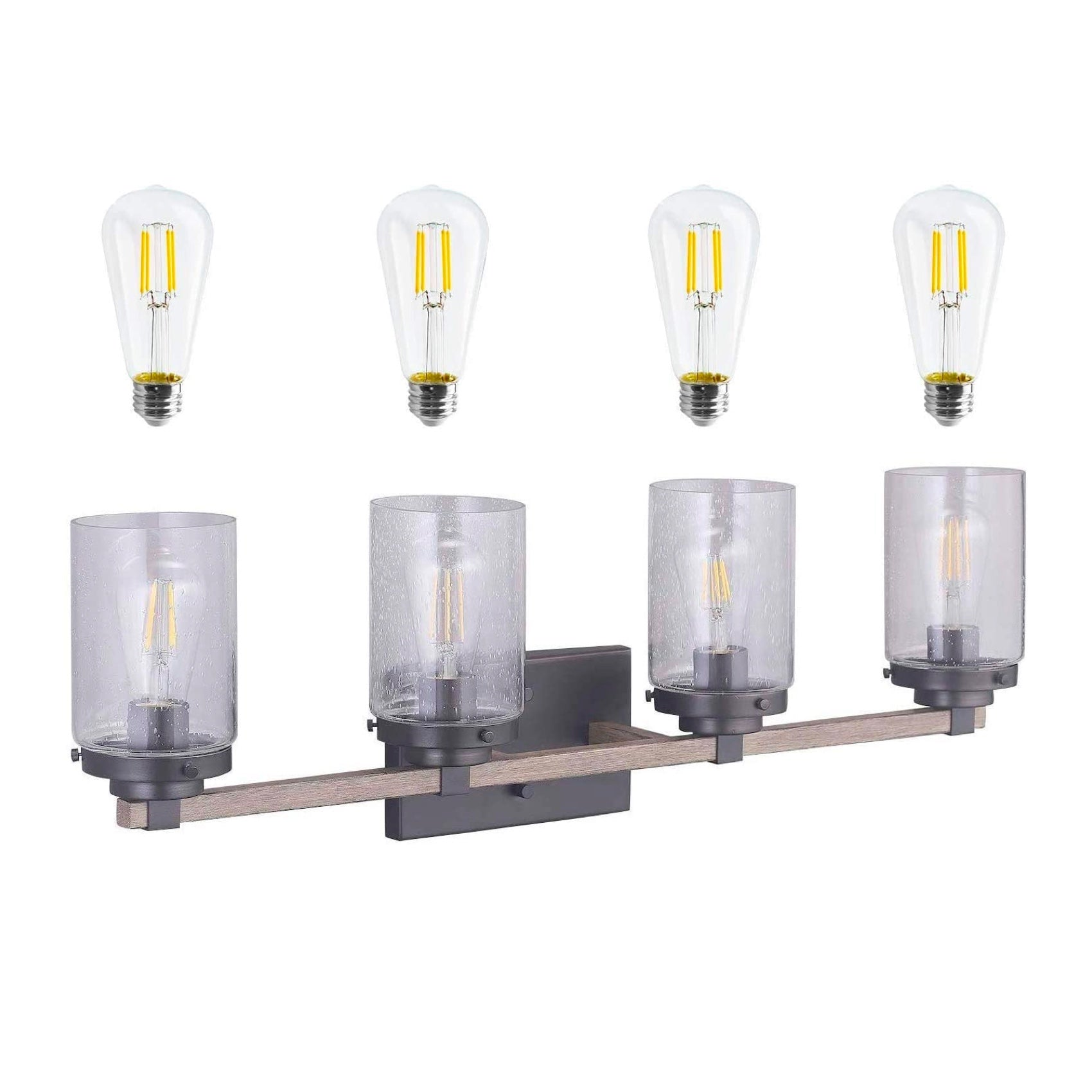 Cloudy Bay Bathroom Vanity Light Fixture 4 Light Wooden Wall Sconce With Bubble Glass Shade Includes 4 Led Filament Bulbs Cloudy Bay Lighting