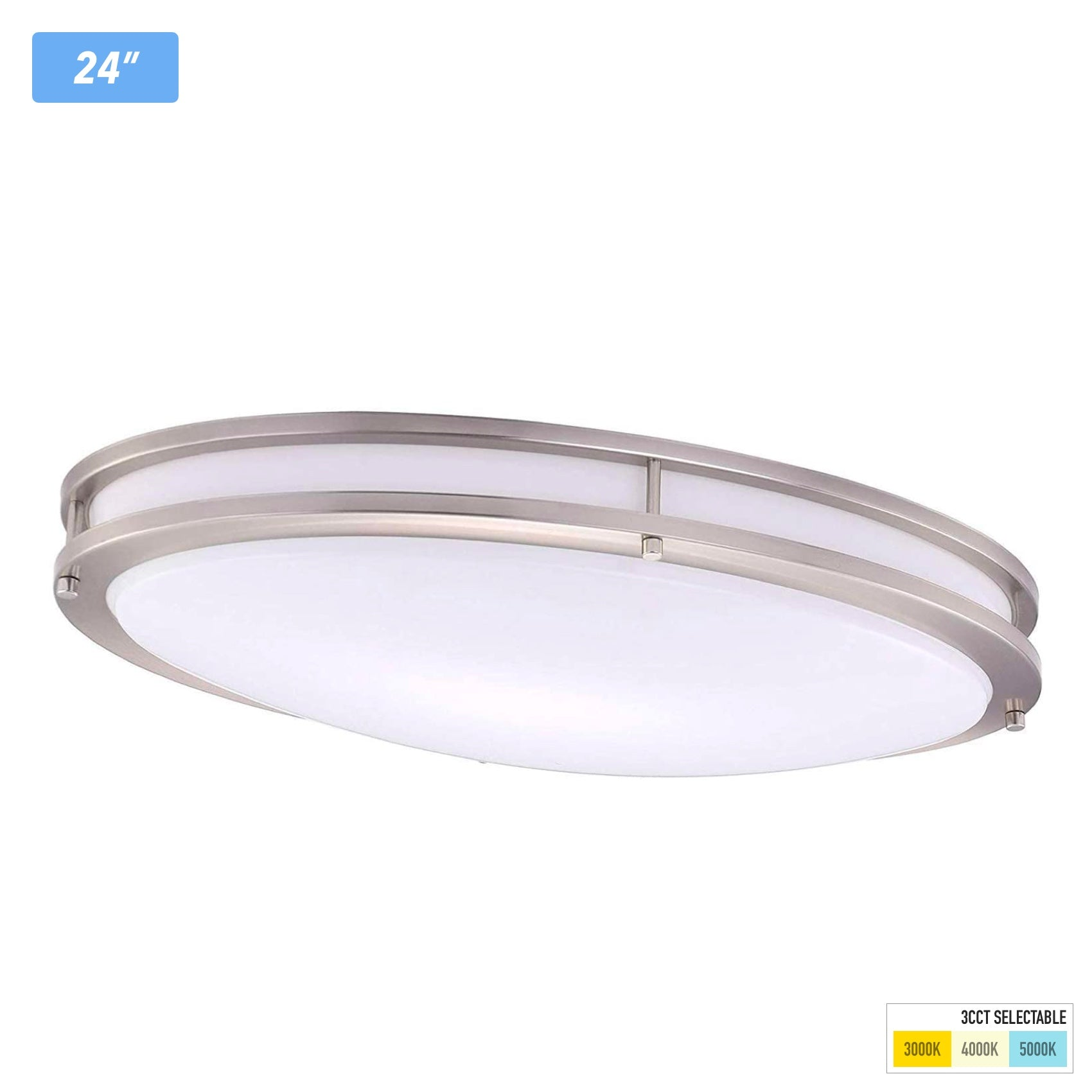 3 Color LED Flush Mount Ceiling Light,24 Inch Oval,3000K/ 4000K/ 5000K Selectable,30W Brushed Nickel for Living Room, Bedroom
