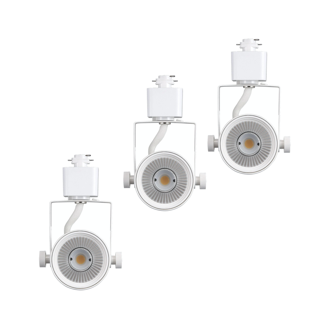 [3-Pack] Track Light Head, Dimmable LED, Adjustable Tilt Angle, Warm white (3000K), White, 120V/8W/580lm