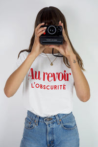 Au revoir l'obscurite French retro slogan t-shirt