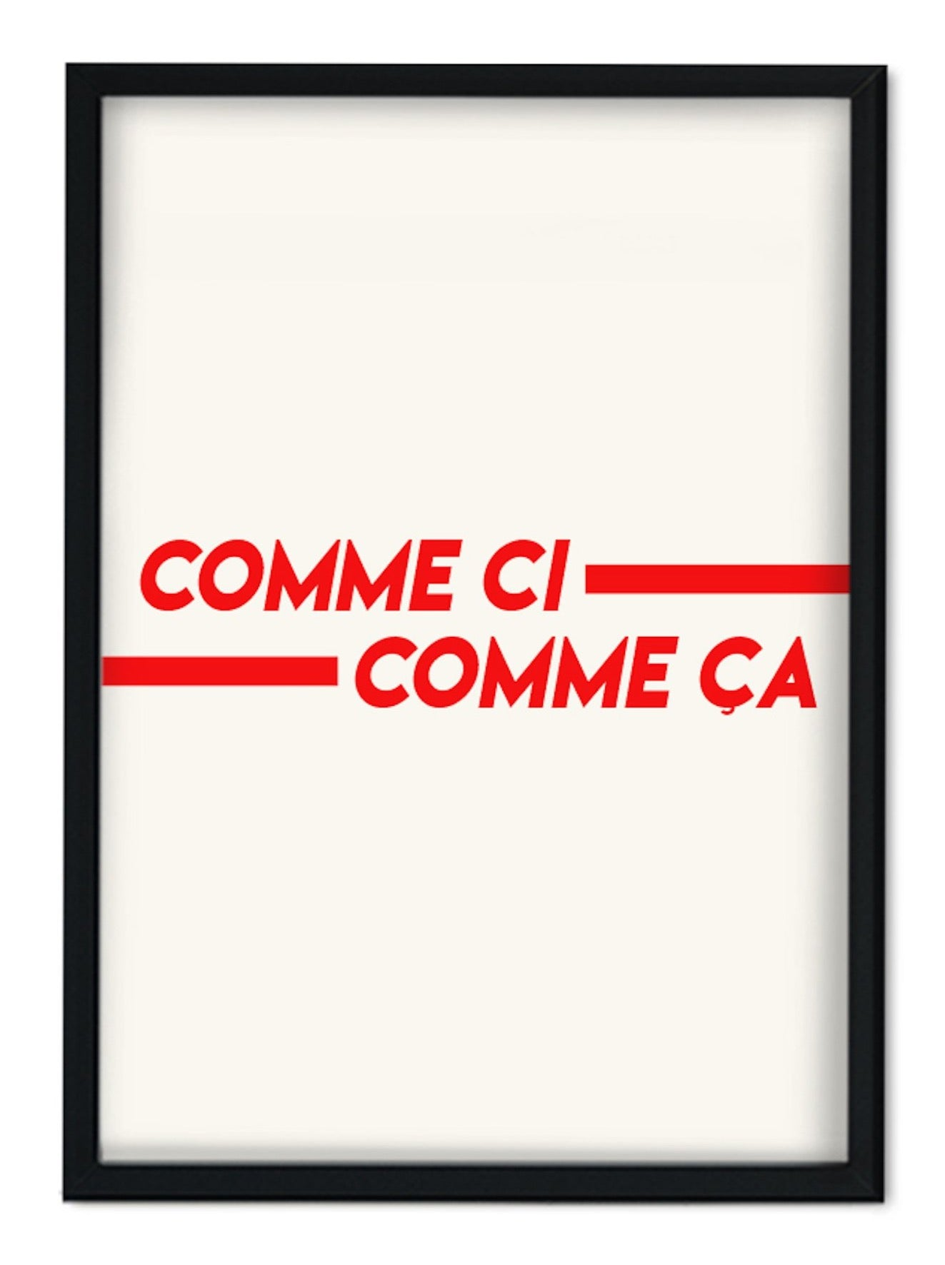 Comme Ci Comme Ça red French Retro A3 Art Print