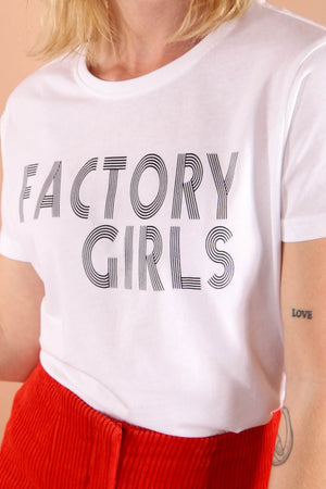 Factory Girls retro slogan t-shirt in white 100% Organic cotton. Inspired by 1960s style, Andy Warhol and vintage band t-shirts.
