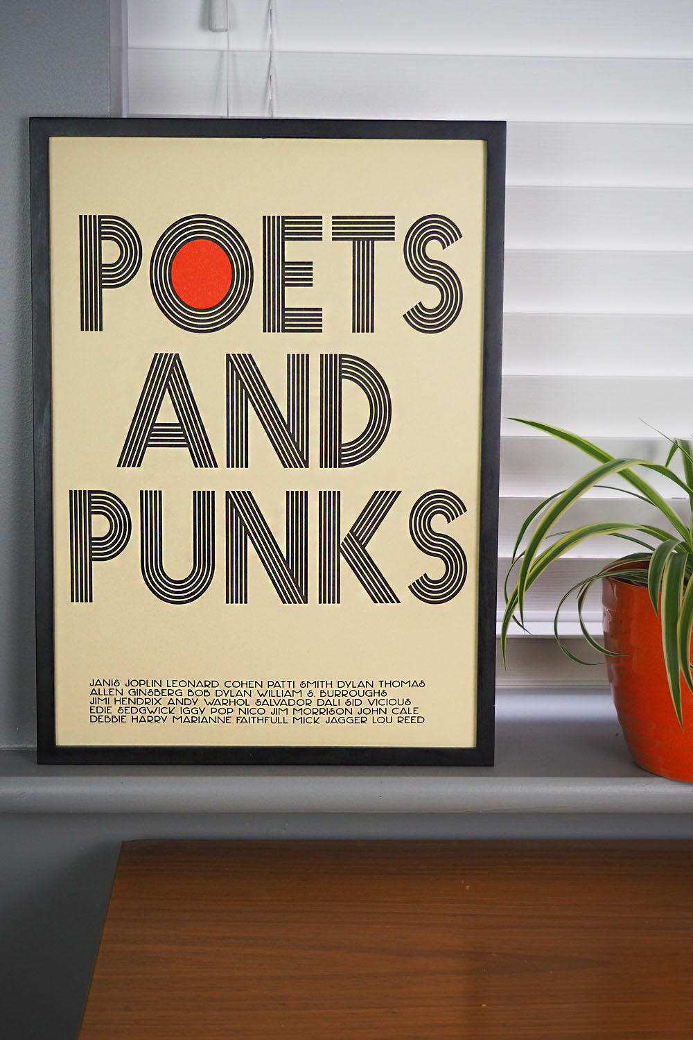 Inspired by 1960s and 70's punks, poets, muses and musicians. This retro cream A3 poster features names of legends from the Chelsea Hotel from Patti Smith and Iggy Pop to Dylan Thomas and Allen Ginsberg.  Printed in Nottingham by Dizzy Ink using risograph printing giving it a beat up hazy band and protest poster feel.