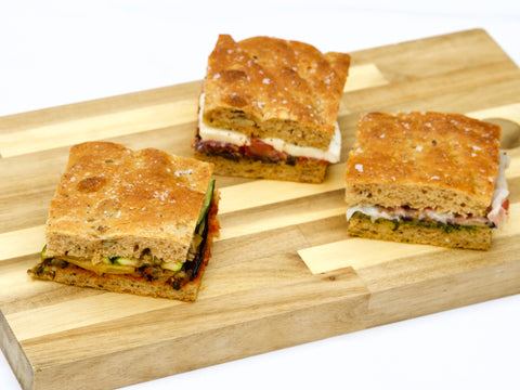 Malted seeded focaccia filled with mixed fillings