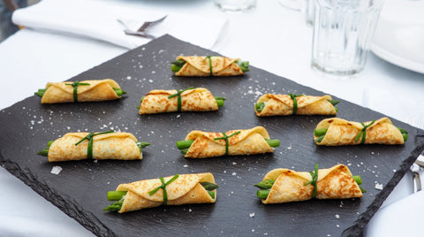 Asparagus and goat cheese mini crepe