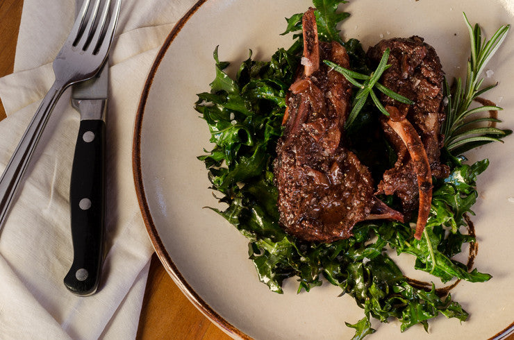 Braised Lamb Chops with Red Russian Kale