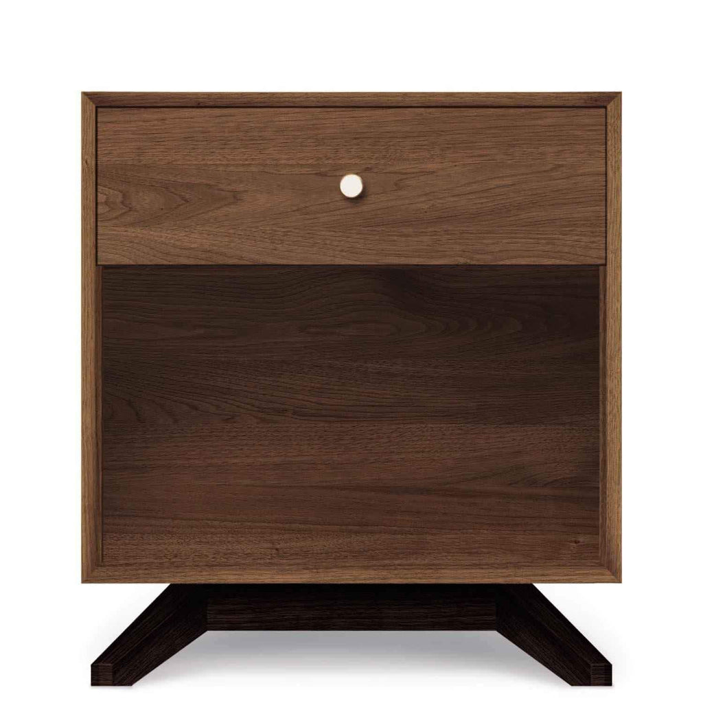 Astrid One-Drawer Nightstand in Walnut with Dark Chocolate Legs - Urban Natural Home Furnishings.  Nightstands, Copeland