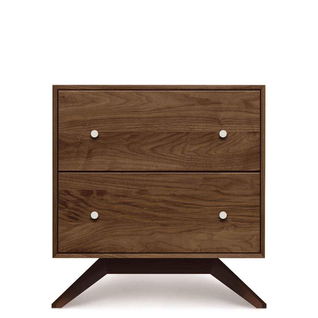 Astrid Two Drawer Nightstand in Walnut with Dark Chocolate Legs - Urban Natural Home Furnishings.  Nightstands, Copeland
