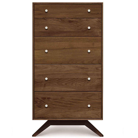 Astrid Five-Drawer Dresser in Walnut with Dark Chocolate Legs - Urban Natural Home Furnishings.  Dressers & Armoires, Copeland