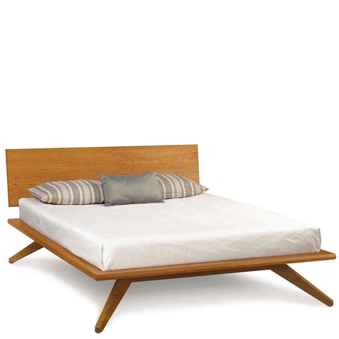 Astrid Bed with Single Panel Headboard in Cherry - Urban Natural Home Furnishings.  Solid Wood Bed, Copeland