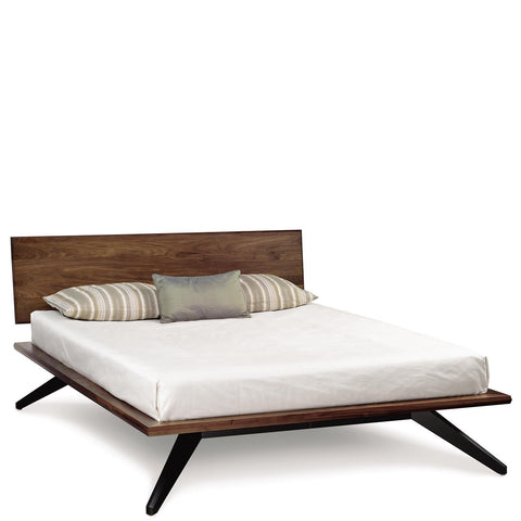 Astrid Bed with Single Panel Headboard in Walnut with Dark Chocolate Maple Legs - Urban Natural Home Furnishings.  Solid Wood Bed, Copeland