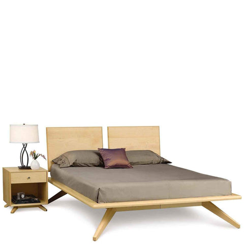Astrid Bed With Adjustable Headboard in Maple