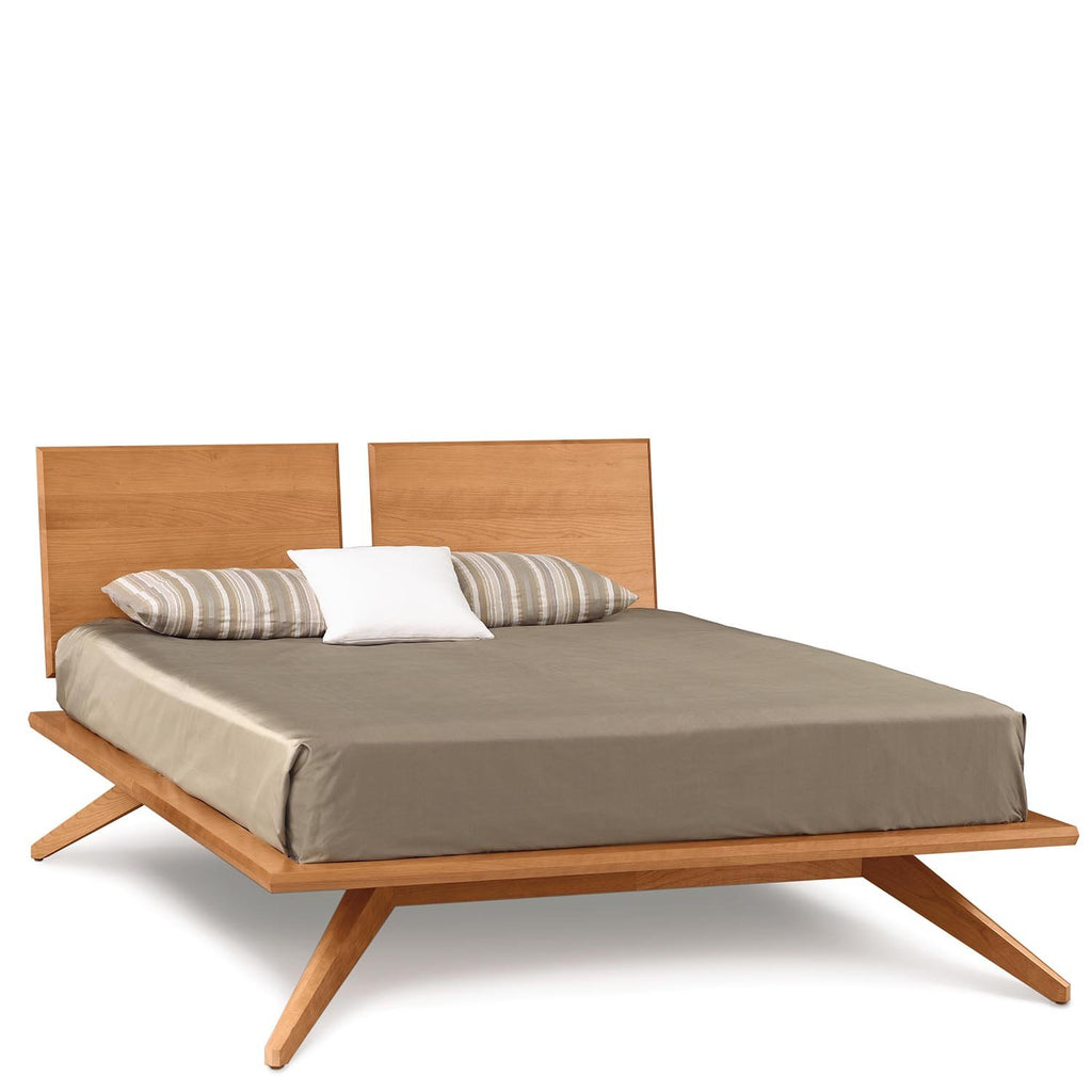 Astrid Bed With 2 Adjustable Headboard Panels In Cherry   Urban Natural  Home Furnishings. Solid