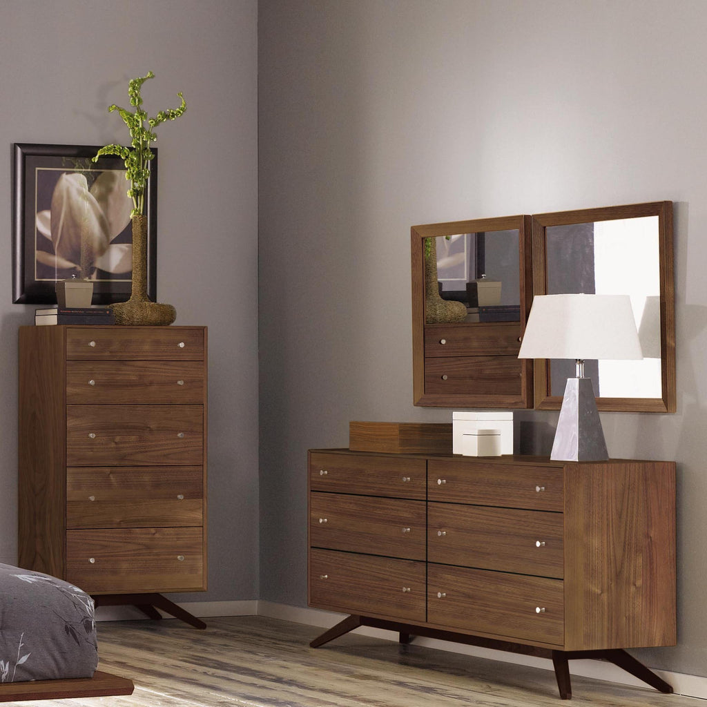 Astrid Six Drawer Dresser in Walnut/Dark Chocolate Maple Base by Copeland