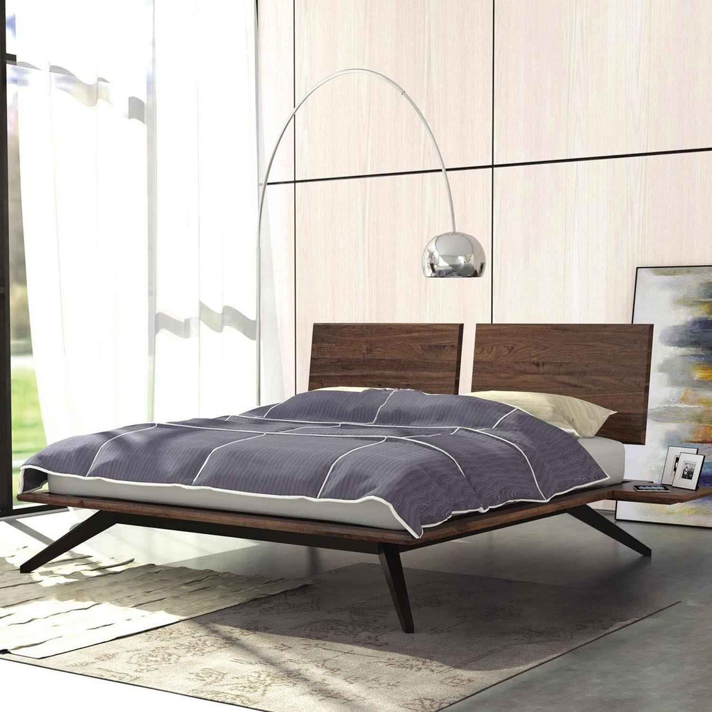 Astrid Bed with 2 Adjustable Headboard Panels in Walnut/Dark Chocolate Legs - Urban Natural Home Furnishings.  Solid Wood Bed, Copeland