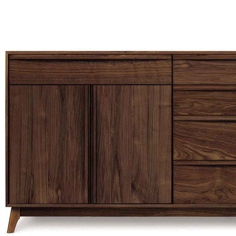 Catalina Buffet (4 Drawers on right, 1 Drawer over two doors on left) in Walnut