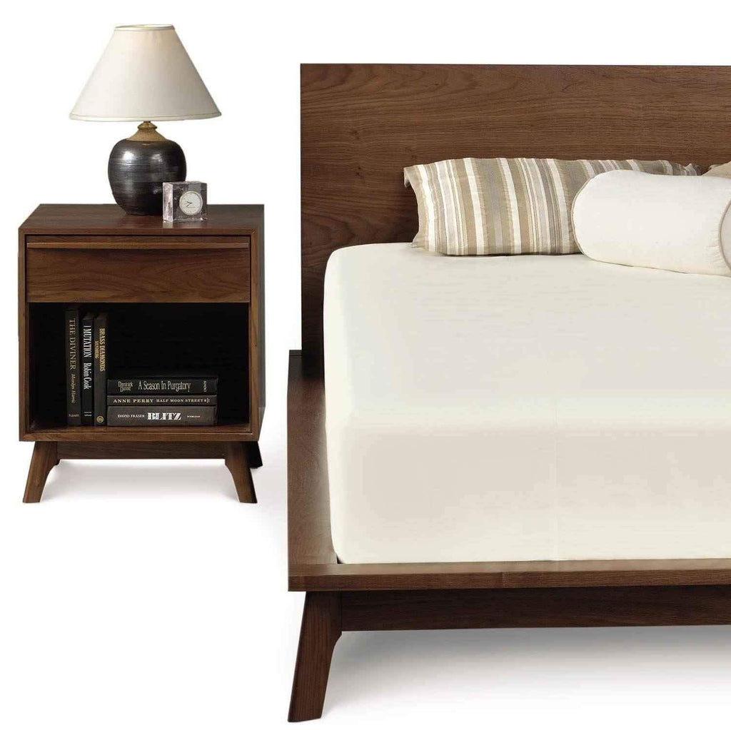 Catalina One-Drawer Nighstand / End Table in Walnut - Urban Natural Home Furnishings.  Nightstands, Copeland
