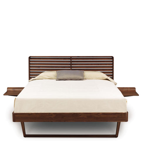 Contour Bed With Two Night Stands in Walnut - Urban Natural Home Furnishings.  Solid Wood Bed, Copeland