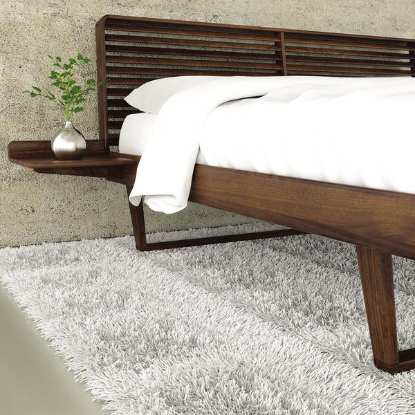 Contour Bed With One Night Stand in Walnut - Urban Natural Home Furnishings.  Solid Wood Bed, Copeland