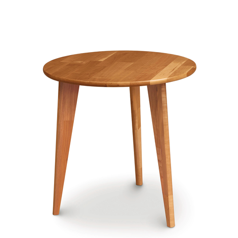 Essentials Round End Table, Wooden Legs