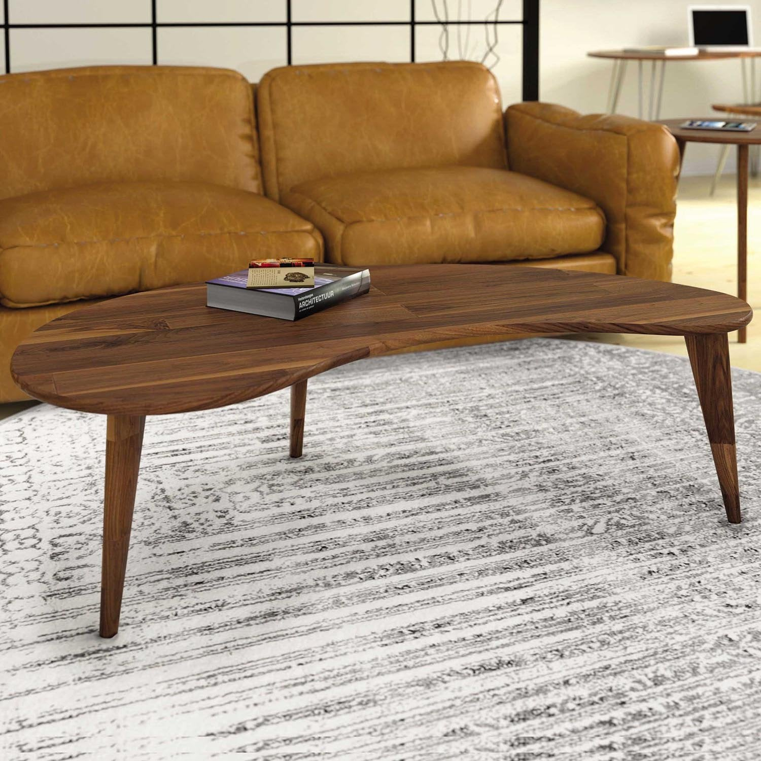 - Essentials Kidney Shaped Coffee Table, Wooden Legs Copeland