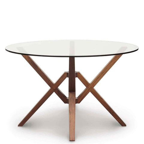 Exeter Round Glass Top Tables in Walnut - Urban Natural Home Furnishings.  Dining Table, Copeland