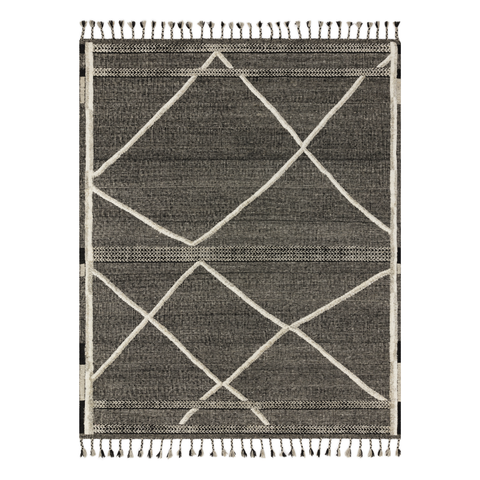 Iman Hand Knotted Rug in Beige/Charcoal