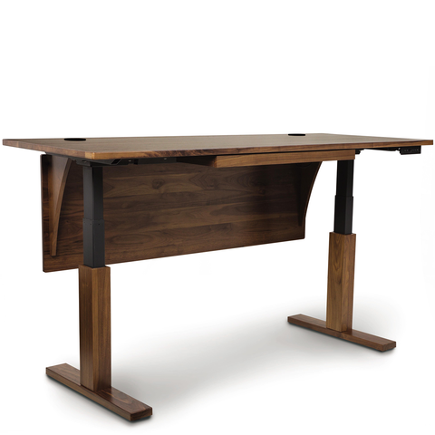 Quick Ship Invigo Sit-Stand Desk In Walnut