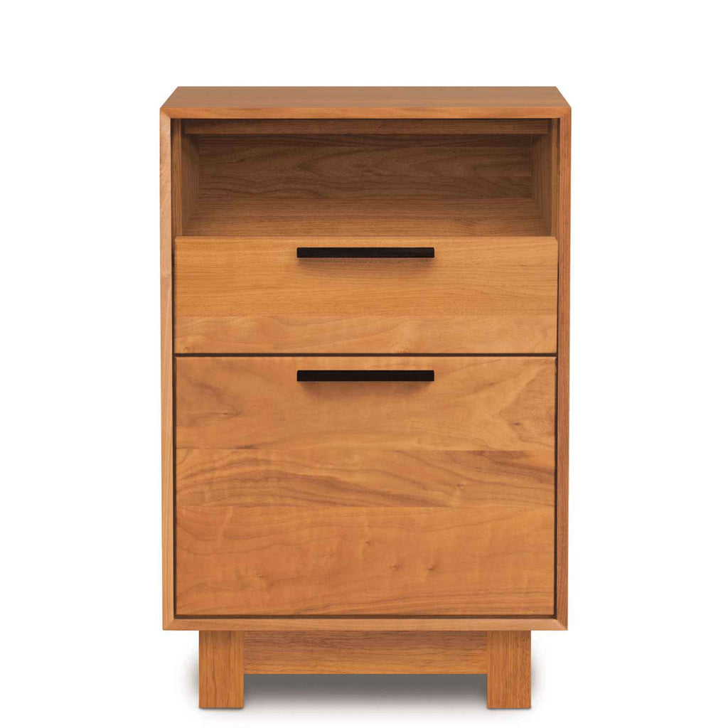 Linear Narrow File Cabinet with Cubby in Cherry
