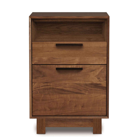 Linear Narrow File Cabinet with Cubby in Walnut