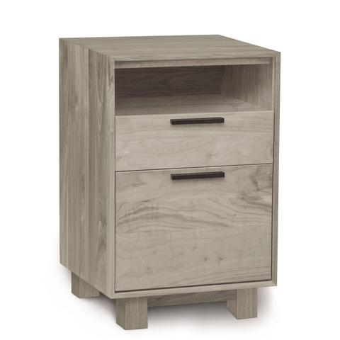 Linear Narrow File Cabinet with Cubby in Ash