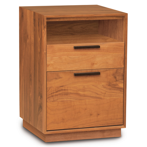 Linear Narrow Rolling File Cabinet with Cubby in Cherry