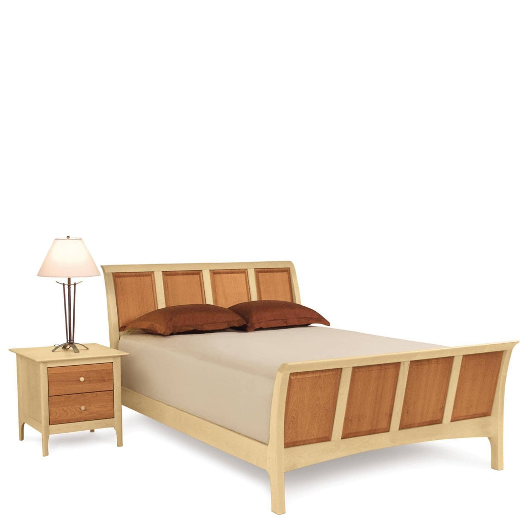 "Sarah Sleigh 51"" Bed With High Footboard in Cherry/Maple (For Mattress & Box Spring) - Urban Natural Home Furnishings.  Bedframes, Copeland"