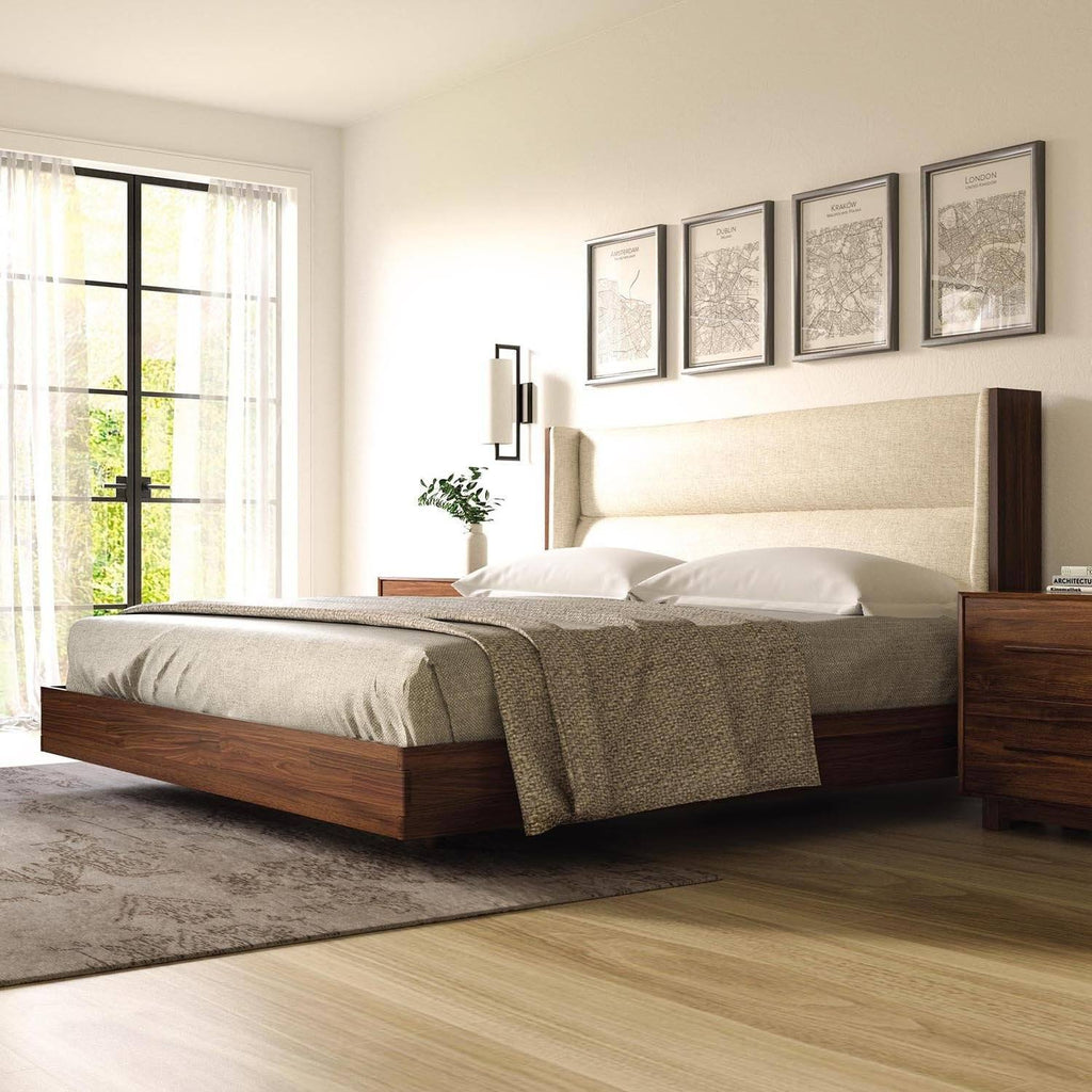 Sloane Floating Bed in Natural Walnut - Urban Natural Home Furnishings.  Solid Wood Bed, Copeland