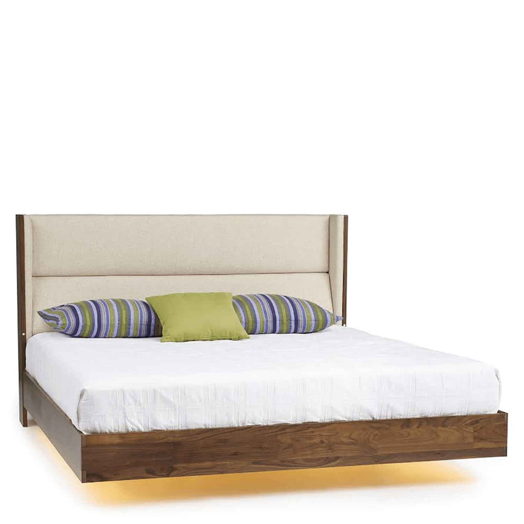 Sloane Floating Bed with Underbed Lighting in Walnut