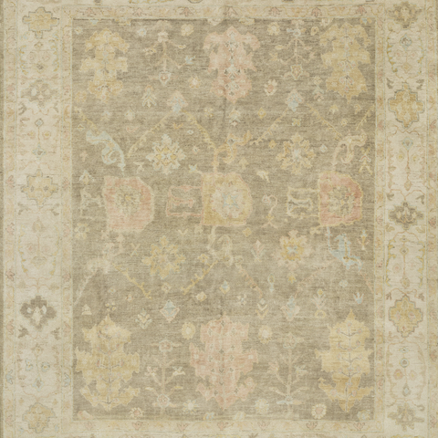 Vincent Hand Knotted Area Rug in Moss Grey/Stone Sample