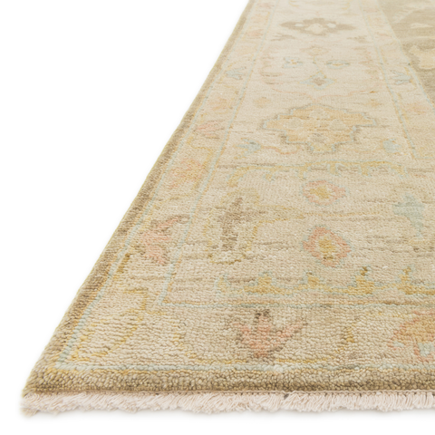 Vincent Hand Knotted Rug in Moss Grey/Stone