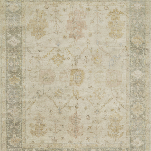 Vincent Hand Knotted Area Rug in Stone/Storm Sample