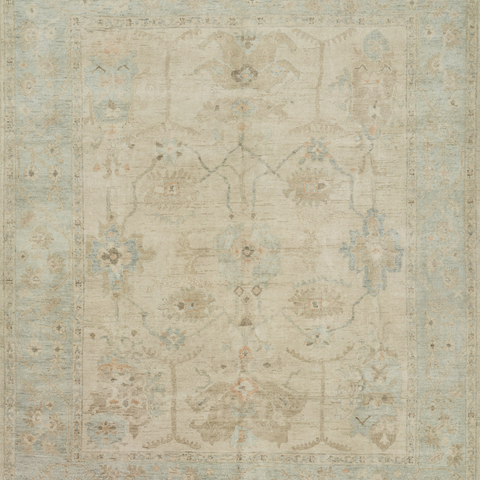 Vincent Hand Knotted Area Rug in Stone/Mist Sample