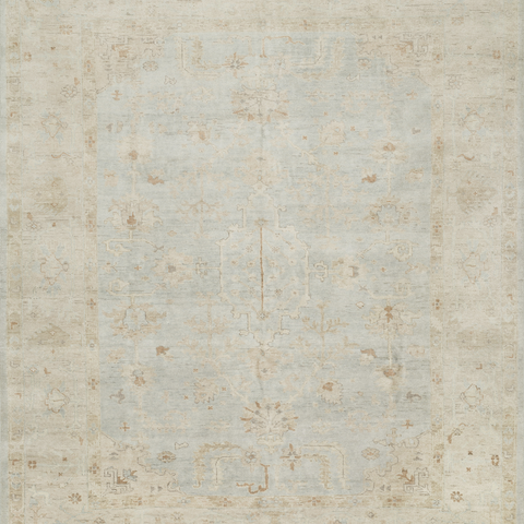 Vincent Hand Knotted Area Rug in Mist/Stone Sample