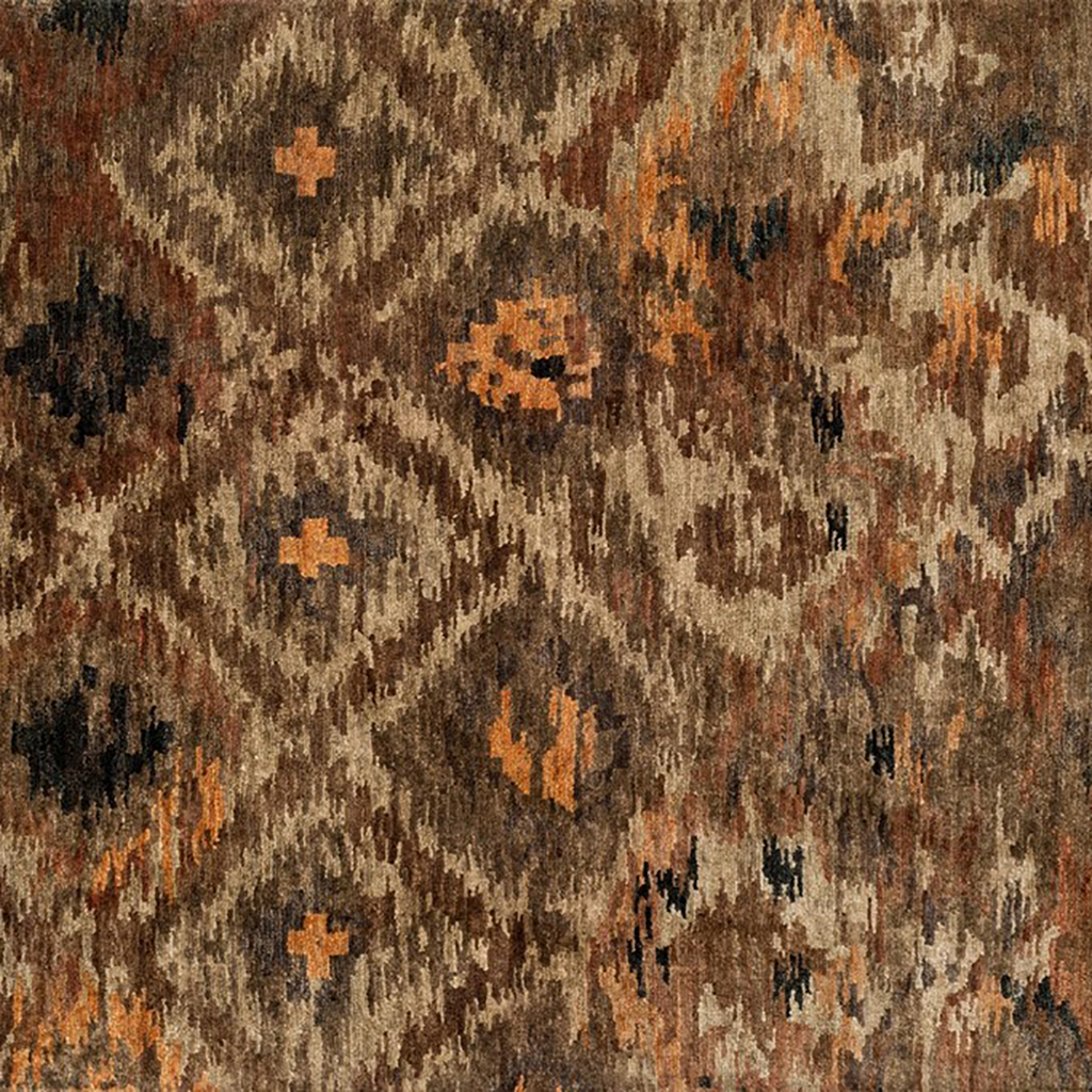 Xavier Hand Knotted Area Rug in Rustic Brown Sample