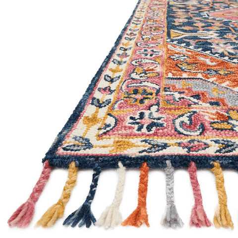 Zharah Hooked Area Rug in Navy / Multi by Loloi