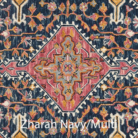 Zharah Hooked Area Rug in Navy / Multi Sample