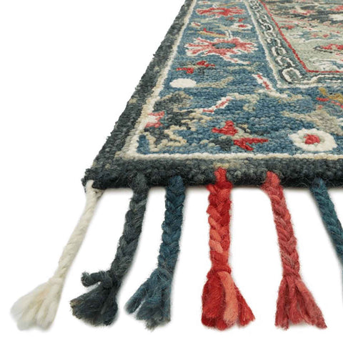 Zharah Hooked Area Rug in Navy / Blue by Loloi