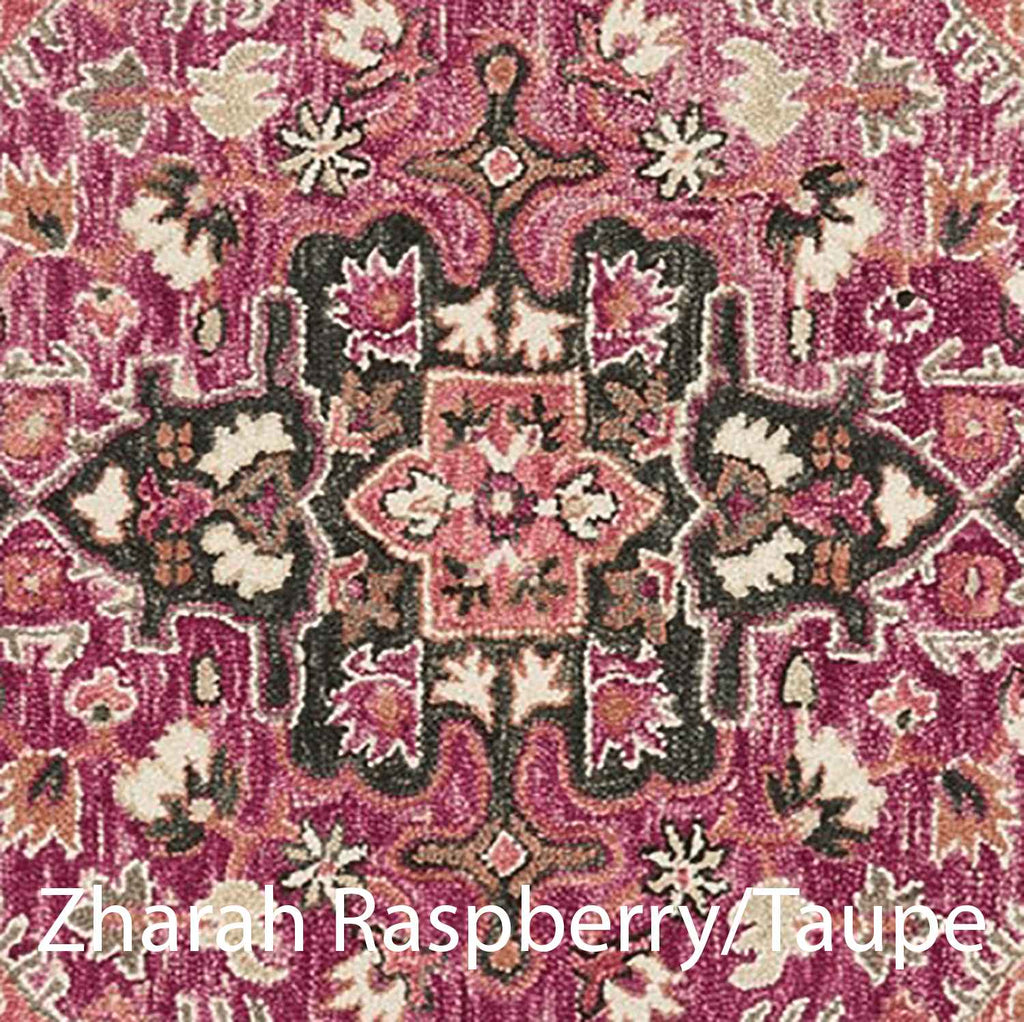 Zharah Hooked Area Rug in Raspberry / Taupe Sample