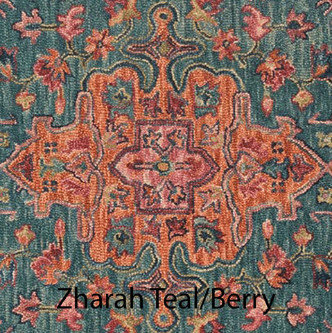 Zharah Hooked Area Rug in Teal / Berry Sample